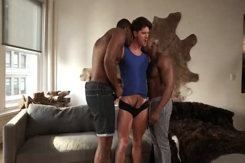 Two black men banging A White lad bare