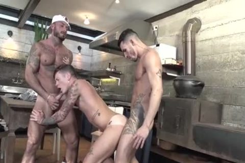 trio Latinos Nailing In The Kitchen