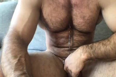 hairy man Masturbating To cum In webcam